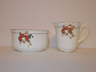 Taylor & Kent Bone China Orange Rose Design Sugar Bowl and Milk Cream Jug Lovely