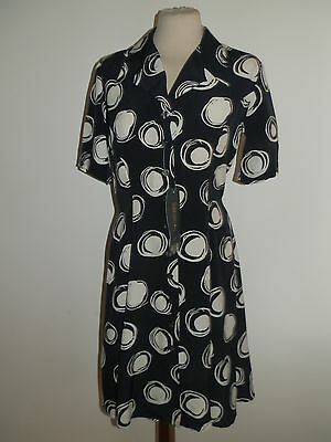 French Connection Vintage Ww2 Style Navy & White Printed Tea Dress Rrp £58.99
