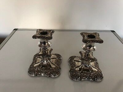 "Pair Of Silver Plated Victorian Decorative Candlesticks 5.25"" Tall Square Foot"