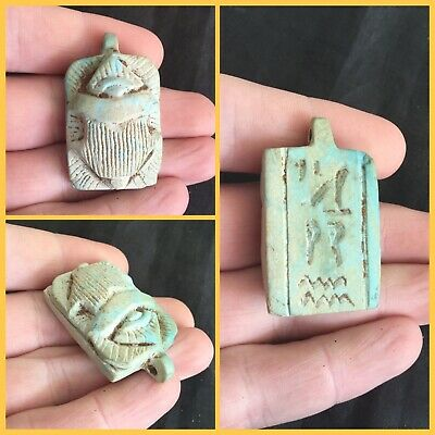 Rare ancient Egyptian blue scarab beetle with hieroglyphics, 300 bc