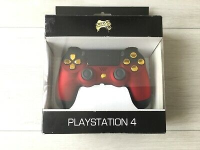 OFFICIAL PS4 CONTROLLER V2 Custom Shadow Red w/ Chrome Gold Buttons