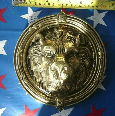 Large Heavy Brass Lion Head Door Knocker / Striker 215Mm / 8 ¼ Inch Diameter