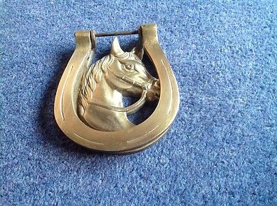 Antique solid brass horse door knocker