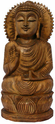 Handmade Antique Look Gautam Buddha Wood Figurine India Hand Carved Buddhism Art