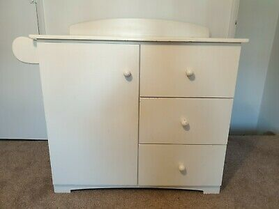 Solid Wood baby changing table unit with drawers hand painted white