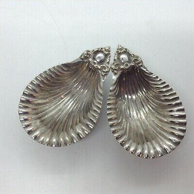 Two Antique Silver Plated Shell Salts