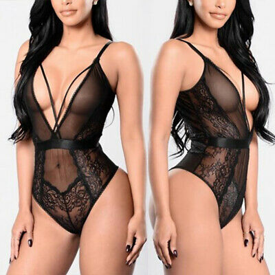 Women's Lingerie Bodysuit Conjoined Three-point Perspective Sleepwear Ladies