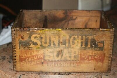 Vintage Sunlight Soaps Wooden Box, Original