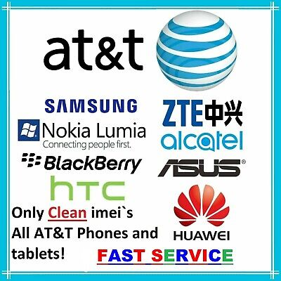 Att Clean Unlock Code Service For At&T Samsung Asus Lg Huawei Alcatel Iphone Zte