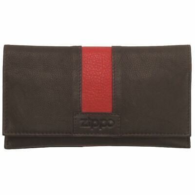 NEW ZIPPO BLACK LEATHER BI-FOLD TOBACCO POUCH Smoke Smoking