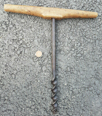 Antique Coopers Barrel Making Bung Hole Hand Auger - Primitive Tool Nice Patina
