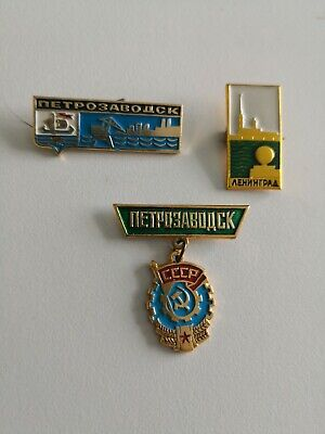 LOT OF 3 SOVIET ERA ENAMEL PINS, BADGES (Petrozavodsk,Leningrad) COMMUNISM CCCP