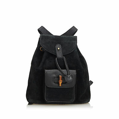 0299ebb52be AUTH GUCCI BAMBOO Drawstring Backpack Hand Bag Black Leather Vintage ...