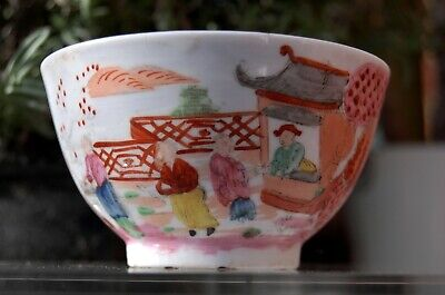 VARIATION c1795 18th century GEORGIAN Antique BOY IN WINDOW TEA BOWL -?NEW HALL