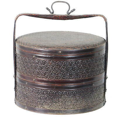 "Antique Chinese  2 Tier Round Cane and Bamboo Food Carrier Basket 16"" Dia 16"" T"