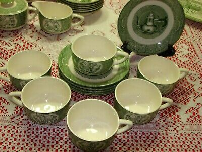Royal USA The Old Curiosity Shop 6 Cups & Saucers + Platter Green 1950's 13 Pc