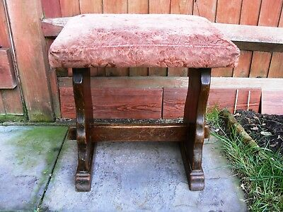 Old Vintage Solid Wood Upholstered Dressing Table Stool Seat Chair