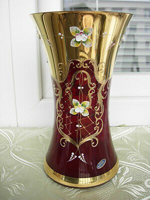 Ruby Red  Unique Luxury Bohemian Czech Glass Vase#5*