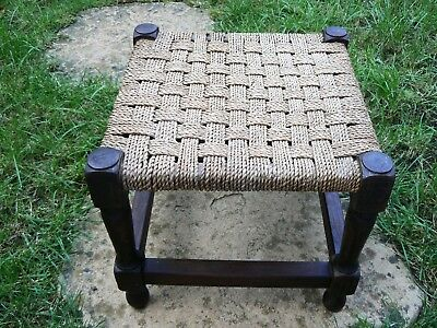 Old Vintage Footrest cum Stool Twisted String Wicker Woven