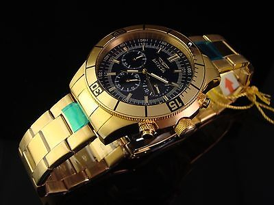 New Mens Invicta Specialty 18K Gold Plated Chrono W Navy Blue Dial Msrp $795