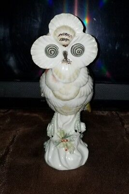 Mottahedeh Shell Design Unusual Porcelain Owl Statue Figurine Bird Made in Italy