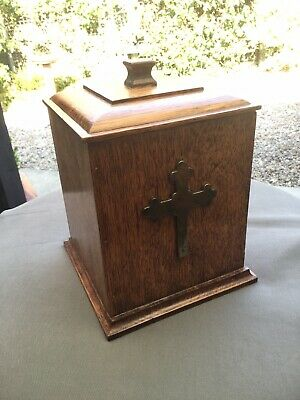 Late Victorian Arts & Crafts Oak Candle or Caddy Box - Brass Cross to Front