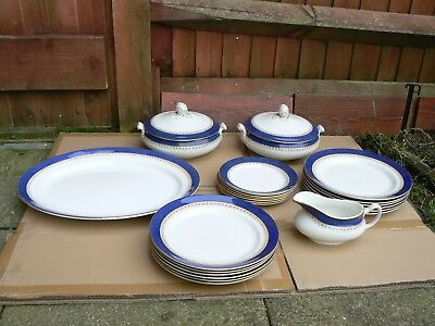 Antique Porcelain Tureen Bowls, Gravy Bowl & Dining Plates Bishop England C1910s