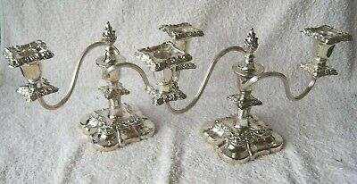 Pair Vintage English Silver Plated Georgian Style Candelabra Candlestick Quality