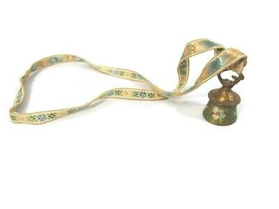 Vintage Handpainted Mini Brass Bell Floral Fabric Lanyard