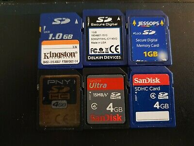 Job lot of 6 SD Memory Cards - 1GB & 4GB - Used