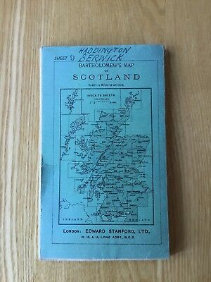 1920 Bartholomew's Half Inch Cloth Map Of Scotland Sheet 9 Berwick & Haddington