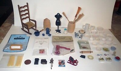 From Antique Dollhouse HUGE LOT - Quality MINIATURE FURNITURE & ACCESSORIES