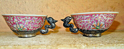 two cups 2 tasses, SILVER PORCELAINE ancien asia .chineese chine,japan wiet ?