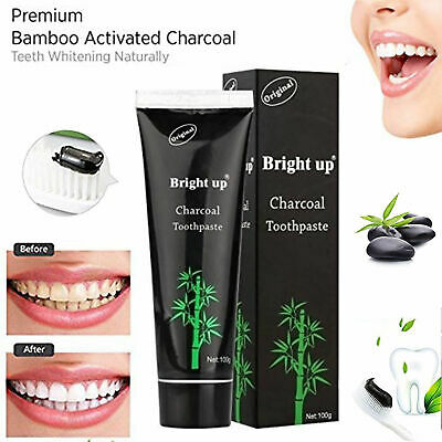 Teeth Whitening Fluoride 100g BRIGHT UP Bamboo Activated Charcoal Toothpaste