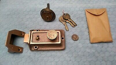 Night Rim Latch Lock Brass 2-3/8 Inch Backset Yale NOS