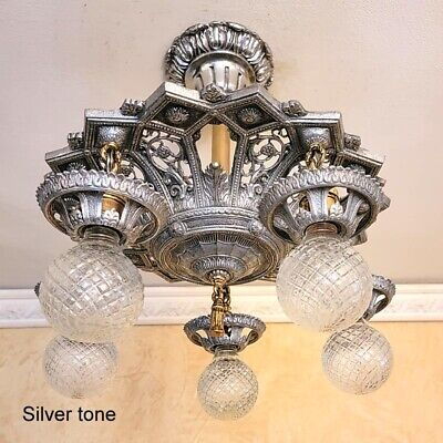 591b Vintage Antique arT Nouveau Ceiling Light Chandelier Fixture entry hall