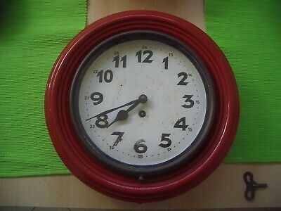 Vintage railway station metal wall clock 1948