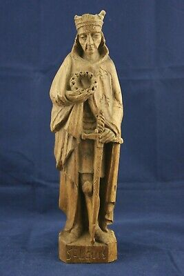 † 18-19Th Saint Louis Ix King Of France Patinated Wood Statue Hand Made France †