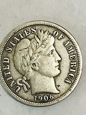Higher Grade - 1906 Barber Liberty US Silver Dime - Great Detail in LIBERTY