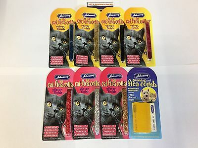 JOHNSONS FELT VELVET/ GLITTER CAT & KITTEN FLEA COLLARS  KILL FLEAS or FLEA COMB