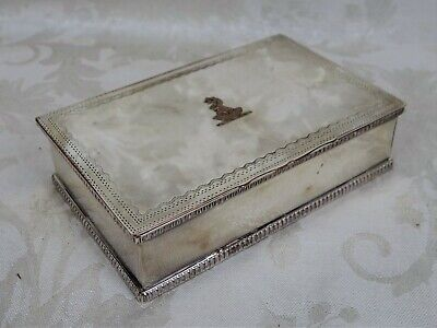 Antique English Silverplate by N B & S Copper Trinket Box Chess Piece Etched