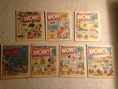 7 Used Copies of Wow Comic, From The 1980s Including Issue 1