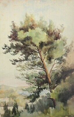 The Tree by the Lake, Fine French Landscape Watercolor ca. 1880