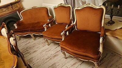 Antique French Sofa and 2 armchairs