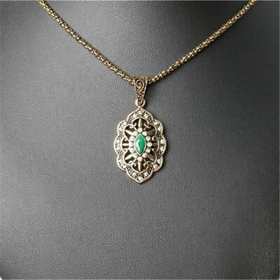 Antique Vintage Gold Plated Resin Crystal Pendant Fashion Necklace Women Jewelry