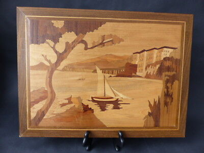 Vintage  Large   Marquetry  Picture Depicting A Coastal Scene