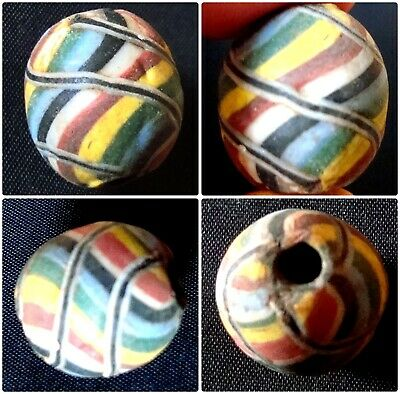 Ancient Islamic Rainbow Eastern Mosaic Glass Classic Art Lines Pendant Bead 703