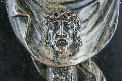 † 1900's VERONICAS VEIL CROSS HOLY WATER FONT ROCK & SILVERPLATED COPPER ITALY †