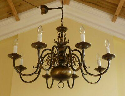 Flemish Chandelier Antique Vintage Brass 8 lamp ceiling light French Chic