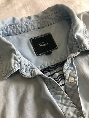7c0be4d92ba2c RAILS CHAMBRAY DENIM Style Shirt Embroidered Back Button down Size L ...